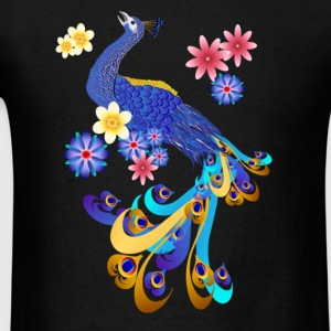 Fancy Peacock and Flowers  - Men's T-Shirt