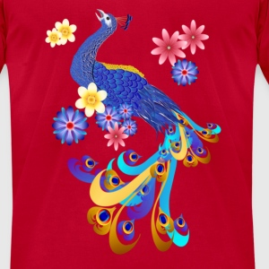 Fancy Peacock and Flowers  - Men's T-Shirt by American Apparel