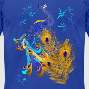 Three Feathers and a Peacock - Men's T-Shirt by American Apparel