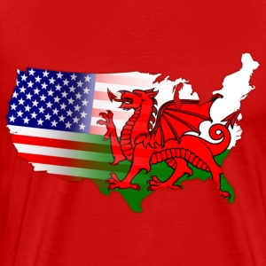 Welsh American Flag Hoodies - Men's Premium T-Shirt