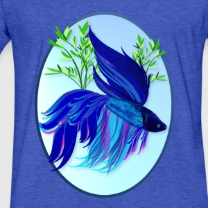 Big Blue Siamese Fighting Fish - Fitted Cotton/Poly T-Shirt by Next Level