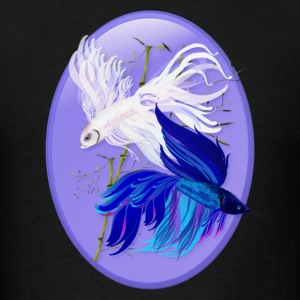 Blue n  White Siamese Fighting Fish Oval - Men's T-Shirt
