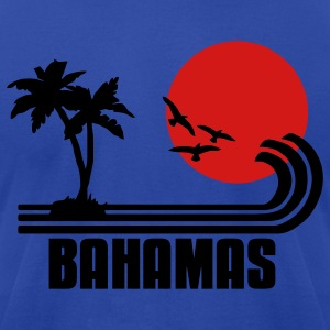 Bahamas, palm trees, sun beach retro design, wanderlust Hoodies - Men's T-Shirt by American Apparel