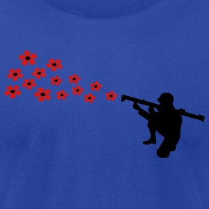 The anti-war motif bazooka soldier shoots with flowers. Hoodies - Men's T-Shirt by American Apparel