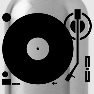 headphones record disc platter disk dj play vinyl spin T-Shirts - Water Bottle
