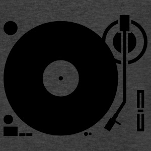 headphones record disc platter disk dj play vinyl spin Long Sleeve Shirts - Men's V-Neck T-Shirt by Canvas