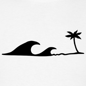 Waves on the Beach, waves on the beach under palm trees  Hoodies - Men's T-Shirt