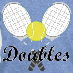 Tennis Doubles Racquet and Ball Sports T-Shirts - Women's Wideneck Sweatshirt