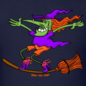 Crazy Witch Surfing on her Broom Long Sleeve Shirts - Men's T-Shirt