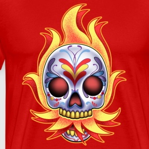 DoD Flame Skull by RollinLow Hoodies - Men's Premium T-Shirt