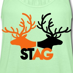 STAG double stag two reindeer  T-Shirts - Women's Flowy Tank Top by Bella