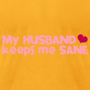 my husband keeps me sane - with love heart Bags  - Men's T-Shirt by American Apparel
