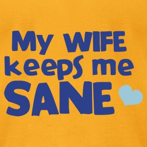 my wife keeps me sane blue with love heart Bags  - Men's T-Shirt by American Apparel