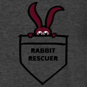 rabbit rescuer bunny rabbit hare cony leveret, bimbo help saver preserver pocket retiever savior save eyes Long Sleeve Shirts - Men's V-Neck T-Shirt by Canvas