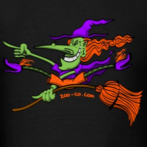 Crazy Witch Riding her Broomstick Hoodies - Men's T-Shirt