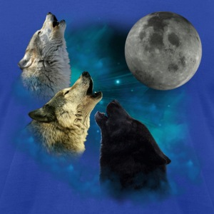 Northern Lights Wolfs Howling Hoodies - Men's T-Shirt by American Apparel