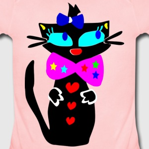 unique colorful kitty cat animation art - Short Sleeve Baby Bodysuit