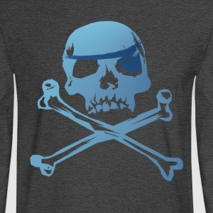 Blue Pirate Skull And Crossbones - Men's Long Sleeve T-Shirt