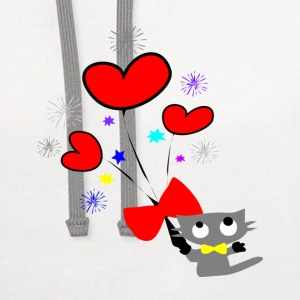 kitty cat & hearts vector art large button - Contrast Hoodie