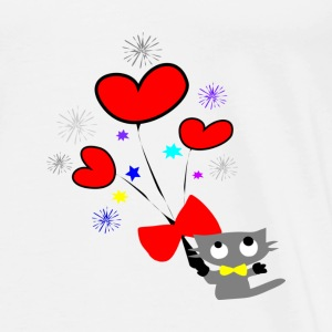 kitty cat & hearts vector art small button - Men's Premium T-Shirt