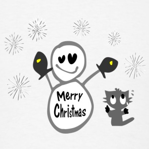Merry Christmas txt snowman & cat vector art small button - Men's T-Shirt