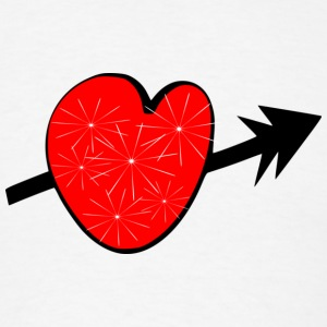 Red shiny heart arrow vecgtor art Large button - Men's T-Shirt