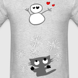 Cute kitty cat & snowman animation vector art Kid's Hooded Sweatshirt - Men's T-Shirt