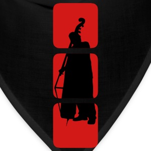 double Bass shows you double bassist, musician, musical instruments bass motif Bank.  T-Shirts - Bandana