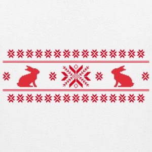 rabbits bunny hare cony leveret christmas norwegian pattern easter snowflake Women's T-Shirts - Men's Premium Tank