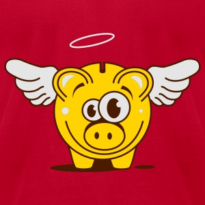 A funny piggy bank with wings  Sweatshirts - Men's T-Shirt by American Apparel