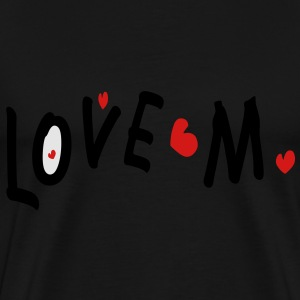 Love M txt hearts vector art Womens Wideneck Sweatshirt - Men's Premium T-Shirt