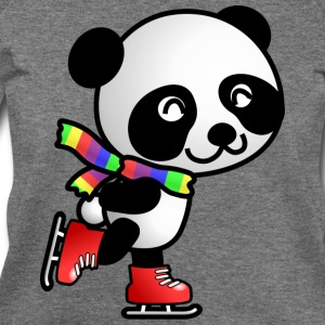 Cute Kawaii Skating Panda with Rainbow Scarf T-Shirt - Women's Wideneck Sweatshirt