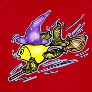 Wizard Fish - funny cute drawing - Short Sleeve Baby Bodysuit