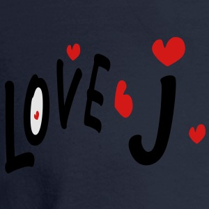 Love J txt hearts vector graphic line art Men's T-Shirt by American Apparel - Men's Long Sleeve T-Shirt