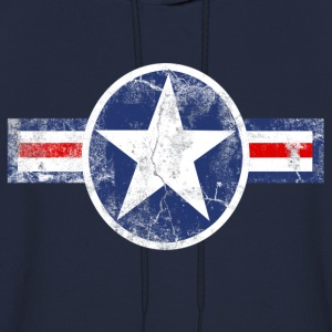 Vintage Patriotic Star, Red White and Blue Logo T-Shirt - Men's Hoodie