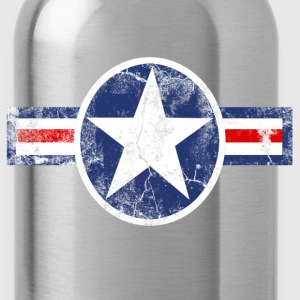 Vintage Patriotic Star, Red White and Blue Logo T-Shirt - Water Bottle