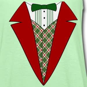 Funny Christmas Tuxedo, Red and Green Tux T-Shirt - Women's Flowy Tank Top by Bella