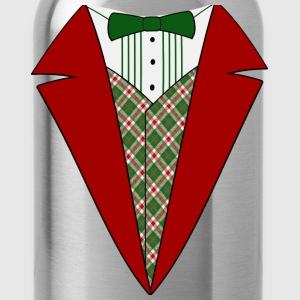 Funny Christmas Tuxedo, Red and Green Tux T-Shirt - Water Bottle