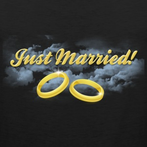 Just Married Gold Rings, Gold Lettering T-Shirts - Men's Premium Tank