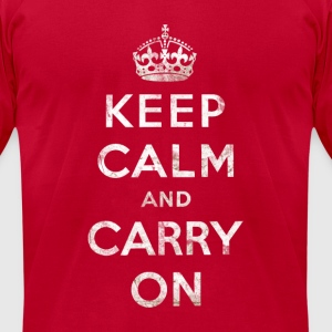 Vintage White Keep Calm and Carry On Text w/Crown Long Sleeve Shirts - Men's T-Shirt by American Apparel
