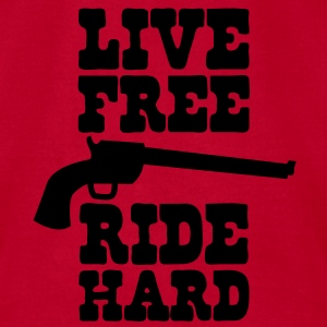live free ride hard Baby Bodysuits - Men's T-Shirt by American Apparel