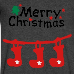 Merry christmas txt holidays stocking vector aryt Womens Wideneck Sweatshirt - Men's V-Neck T-Shirt by Canvas