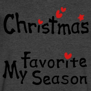 Christmas my favorite season txt hearts vector art Womens Wideneck Sweatshirt - Men's V-Neck T-Shirt by Canvas