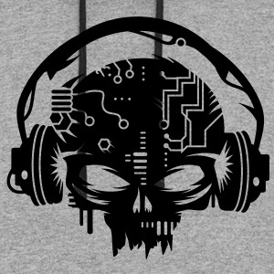 cyber Skull with headphones Women's T-Shirts - Colorblock Hoodie