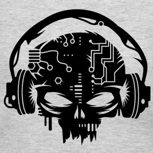cyber Skull with headphones Women's T-Shirts - Women's Long Sleeve Jersey T-Shirt
