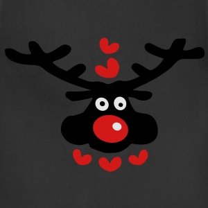 cute christmas reindeer hearts love vector art Womens Wideneck Sweatshirt - Adjustable Apron