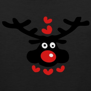 cute christmas reindeer hearts love vector art Womens Wideneck Sweatshirt - Men's Premium Tank