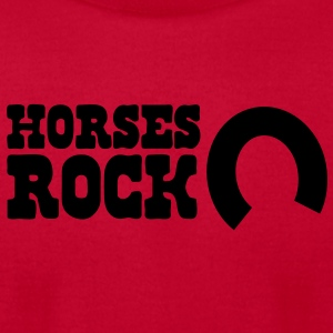 horses rock -with horseshoe Baby Bodysuits - Men's T-Shirt by American Apparel