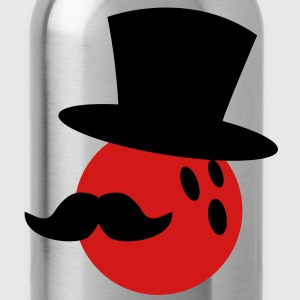 BOWLING ball with a top hat and Mustache T-Shirts - Water Bottle