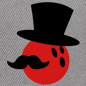 BOWLING ball with a top hat and Mustache T-Shirts - Snap-back Baseball Cap